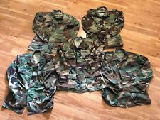 LOT of 5 Wholesale Military Surplus BDU Woodland Camo Shirts tops Medium Army