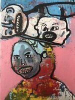 Hasworld Original,painting,signed,Pop Art,Impressionism,abstract Head graffiti
