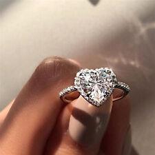 Gifts Elegant Charm Finger Rings Fine Ring New 925 Silver Heart Shaped SZ 8