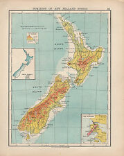 1924 PRINT ~ DOMINION OF NEW ZEALAND PHYSICAL HEIGHTS & DEPTHS INSET RAINFALL