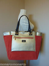 FURLA Reversible Lipstick Red/Gold Furla and I Leather Tote Bag $398