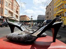 LORBAC Damen Pumps Sandaletten Gr. 37,5 UK 4,5  Schwarz Silber 80s True VINTAGE