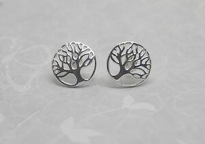 Silver Tree of Life Earrings - Solid Sterling Silver 925 Ear Studs