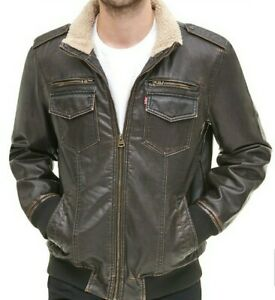 Levi's Men's Faux Leather Jacket Dark Brown L Sherpa lined aviator 50% off $145
