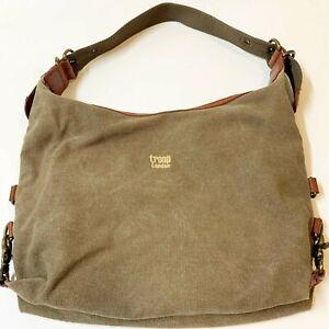 TROOP London Distressed Taupe Canvas Shoulder Bag, Webbing Strap - Unisex