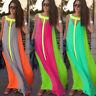 Women Long Dress Summer Chiffon Casual Bohemian Loose Flared Sleeveless Sundress
