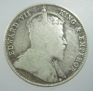 STRAITS SETTLEMENTS 20 CENTS 1910 SILVER BRITISH MALAYSIA SINGAPORE 194# COIN