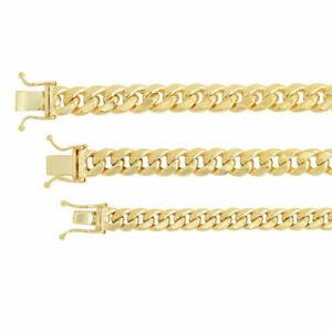 "14k Yellow Gold 5.3mm-7.3mm Miami Cuban Link Necklace Bracelet Sz 8""-9"""