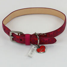 New Coach Waverly Leather Designer Animal Dog Collar Magenta 67599 Medium RARE