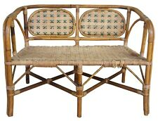 Antique Child's Rattan Cained Bamboo Settee Bench Love Seat Bentwood