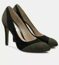 Clarks shoes ladies Always Bright High Heels Black/Gold suede UK Size 6D EU39.5