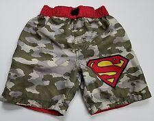 Superman Swim Trunks Camo Size 2  Bathing Suit Boys  Green Red Superhero