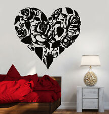 Vinyl Wall Decal Roses Bouquet Flowers Heart Love Romance Stickers (1122ig)