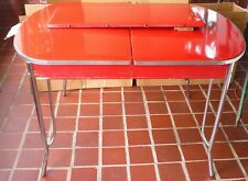 AWESOME VINTAGE 1948 RED ENAMEL PORCELAIN KITCHEN TABLE CHROME LEGS + LEAF