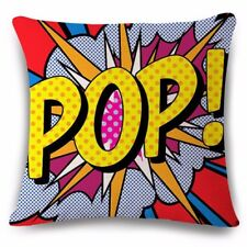 "UK POP ART RETRO ANIMATION CUSHION COVER 17x17"" Pillow Home Gift Idea Comic Red"