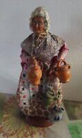 Ancien Femme la Porteuse d'Eau Santon de Provence Statue 30 cm Vintage