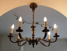 KRONLEUCHTER DECKEN LAMPE - 7 ARMIG - MASSIV GUSS - ART DECO CHANDELIER LAMP