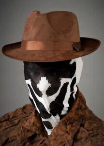 Mens Rorschach Style Superhero Adult Fancy Dress Cosplay Mask & Hat Kit