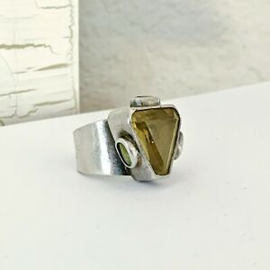 Sterling Silver 925 Designer Gemstone Citrine Peridot Modernist Bold Size 6 Ring