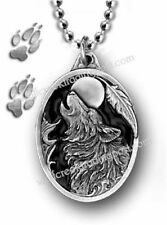 LARGE WOLF MOON DOG EAGLE FEATHER NECKLACE  WILD WOLVES NATURE - FREE SHIP EC22*