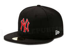 New Era NEW YORK YANKEES NY 5950 Black Scarlet White Cap MLB Baseball Fitted Hat