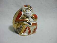 Royal Crown Derby Imari Paperweight - Mother Monkey & Baby w Gold Button Stopper