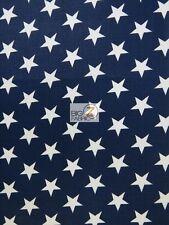 AMERICAN STARS POLY COTTON FABRIC - Navy/White - USA PATRIOTIC POLYCOTTON P271