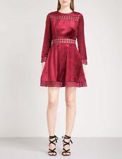TED BAKER red velvet lace fit & flare full skirt skater dress wedding party 0 6