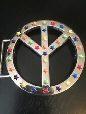 Peace Sign Belt Buckle with Five Different Colored Enameled Stars Numbered