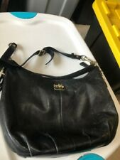 Coach Black Leather Shoulder Bag with red liner. needs small repair