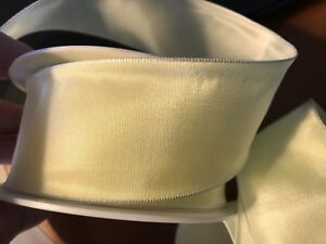"""Vintage Rayon Viscose Trim Ribbon 1.5"""" Butter Yellow 1yd Made in France"""