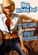 Funny Happy Birthday Hot Blond Cowgirl White Hat Fried Chicken Hallmark Card