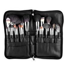 28 Pockets Makeup Brushes Bag Black Case Organizer Professional Strap PU Leather