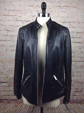 Violeta by MANGO Women's NWT Leather Motorcycle Jacket Medium Zip Up Black