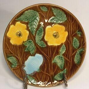Antique Sarreguemines French Majolica Art Nouveau Cabinet Plate c.1920