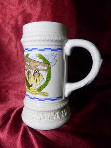 GERZ Beer Stein 1919-1989 70 Years Transatlantic Flight - White printed ceramic