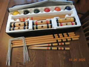 6 Player Sportcraft Wood Croquet Set w/ Carrying Bag Complete VTG Model 02040