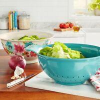 NEW Pioneer Woman Breezy Blossom 3-Piece Melamine Bowl & Colander Set - Floral