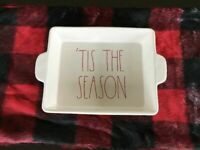 Rae Dunn Christmas Baking Dish 'TIS THE SEASON RED LETTERS 11 x 8.5 NEW