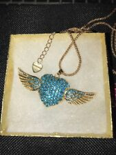 Betsey Johnson Necklace HEART Angel Wings Blue Crystals Gold  LOVE  WORLD PEACE