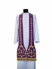 Purple Roman Clergy Stole SH7-AFA Étole Violet Violett Stola Viola Estola Morada