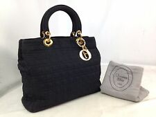 Auth Christian Dior Lady Dior Handbag Black Nylon 7E160040S