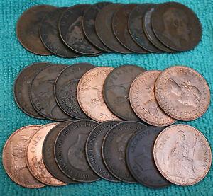 25 BULK PENNIES OLD ENGLISH COINS DATE RANGE 1860-1967