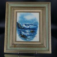 Vintage H. Gailey Framed Oil Painting Ocean Seagulls Nautical Art