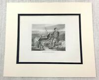 1843 Antique Print Gamekeeper Deer Hounds Hunting Dogs Old Victorian Engraving