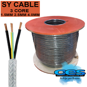 SY BRAIDED CONTROL CABLE 3 CORE 1.5MM 2.5MM 4MM FLEXIBLE STEEL WIRE ARMOURED