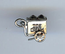 VINTAGE 3D MOVABLE STERLING SILVER ENAMEL ICE CREAM CART WAGON CHARM