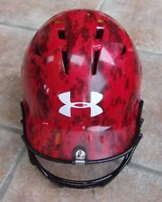 Under Armour Youth Baseball Batting Helmet Camo Red With Cage 5 7/8 To 6 3/4