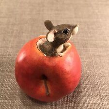 Vintage Cute After The Party Mouse In Apple Figurine by Munro 1994 Red Decor