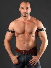 black leather upper arm biceps cuff strap bracelet